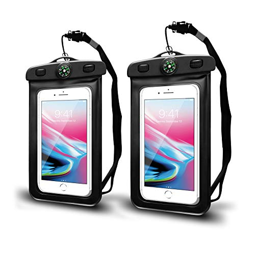 Waterproof Cell Phone Pouch/Dry Bag with Neck Lanyard & Compass - Cruise Accessories - Protects iPhone, Samsung, Google, Sony Moto - Credit Cards, Cash, Name Tags, Badge Holders (2-Pack, Black)