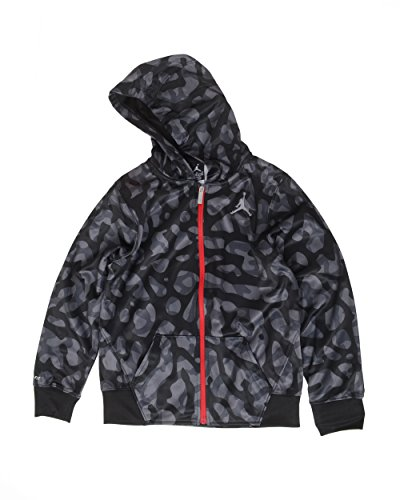 Air Jordan Elephant Print Fleece Hoodie Jacket (L(12-13YRS), Black/Grey)