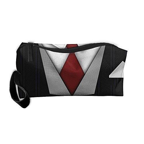 Handsome Necktie Cosmetic Bags Brush Pouch Makeup Bag Zipper Wallet Hangbag Pen Organizer Carry Case Wristlet Holder