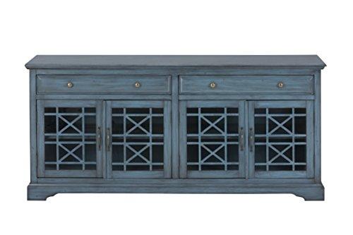 "Jofran: 175-9, Craftsman, 70"" Media Unit, 70""W X 19""D X 32""H, Antique Blue Finish, (Set of 1) from Jofran"
