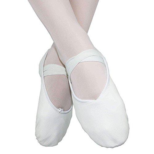 Danzcue Erwachsene Split Sohle Leder Ballett Slipper Weiß