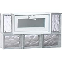 Clearly Secure 23.25 in. x 13.5 in. x 3.125 in. Wave Pattern Frameless Vented Glass Block Window