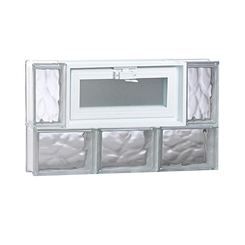 (Clearly Secure 23.25 in. x 13.5 in. x 3.125 in. Wave Pattern Frameless Vented Glass Block Window)