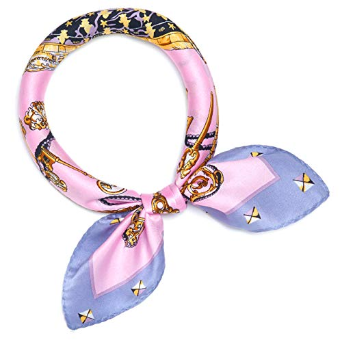 SILIQUE 100% Mulberry Silk Small Scarfs For Neck-Pink Skeleton Keys
