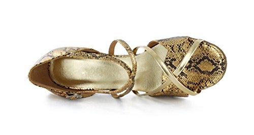 TDA Womens Fashion Vintage Style Flower Performance Dance Shoes 3 1/6Heel Gold KmkBkS