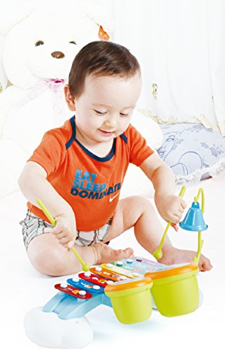 Liberty Imports Rainbow Xylophone Piano Bridge for Kids with Ringing Bell and Drums