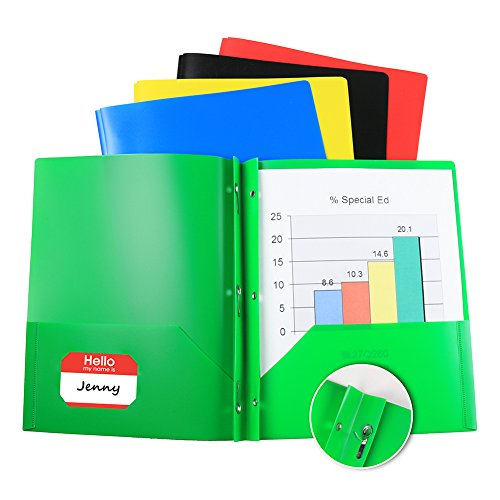 (10 Pack) Two Pocket Poly Portfolio with Prongs, 2 Pocket Plastic File Folder Includes Business Card Slot, 5 Assorted Colors (Twin Portfolio Poly Pocket)