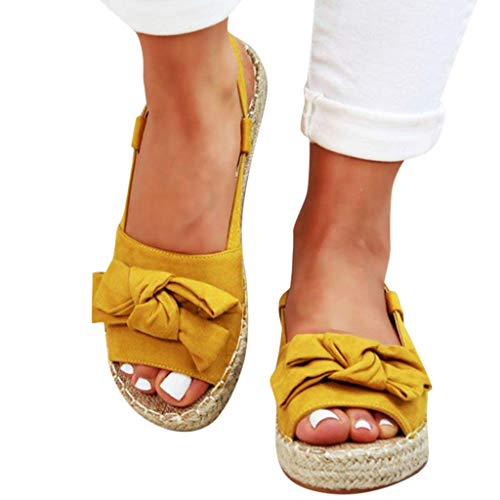 - Women's Wedges Sandals Casual Thick Bottom Peep Toe Butterfly Knot Buckle Strap Sandals Yellow
