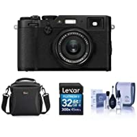 Fujifilm X100F 24.3MP Digital Camera, Fujinon 23mm f/2 Lens, Black - Bundle With Camera Bag, 32GB SDHC Card, Cleaning Kit