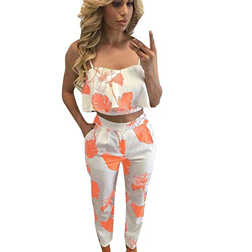 - GridNN 2019 Tops-Women's Two Pieces Outfits Clubwear Front Tie Lace Up Crop Top and Long Skinny Cut Out Pants Set Jumpsuits(Orange,L)