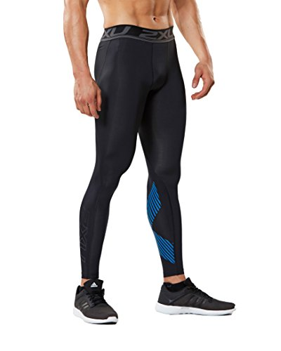 2XU Men's Accelerate Compression Tights, Black/Arrow Stripe Director Blue, Small