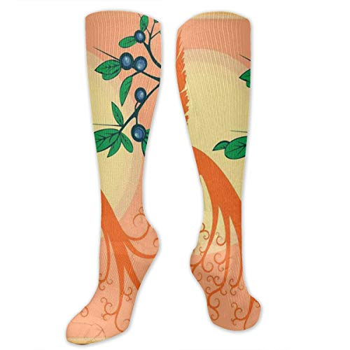(Compression Socks,Silhouette Of Mystic Phoenix Bird Flying Over Sun Grape Leaves Magic Fearthers Art)