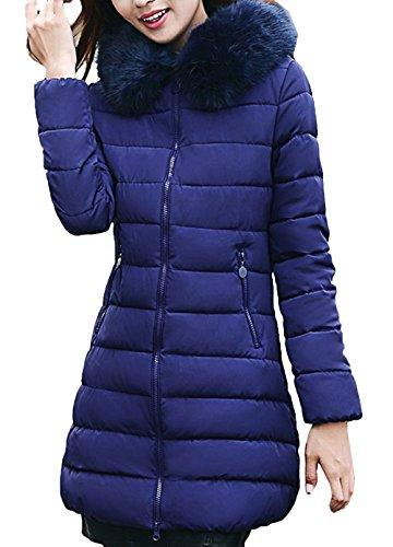 Ladies Winter Winter Parka Jacket Blue señoras con Piel Scothen de Invierno Coat Chaqueta Parka Chaqueta sintética Las Acolchada Capucha Autumn Capucha Capucha Larga Warm wnqXZA0