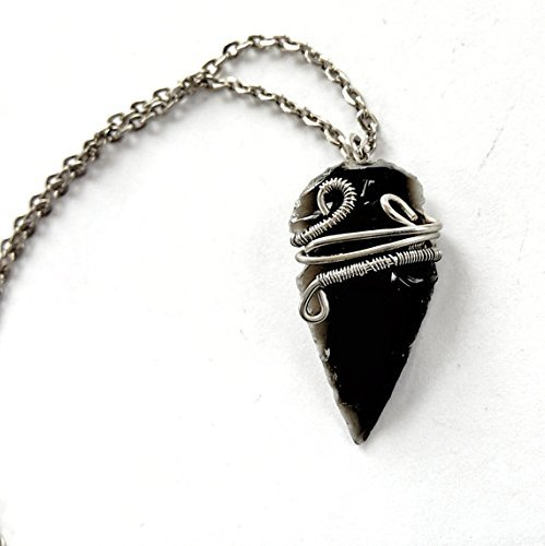 Obsidian Arrowhead Flow Necklace - White Gold Wire Wrapped Pendant - Custom Length