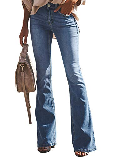 LOSRLY Women Mid Rise Pocketed Wide Leg Bell Bottom Flare Petite Jeans Light Blue S