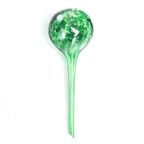 GDGY 2 PCS glass watering sphere/Lazy watering device Drip irrigation equipment/Automatic Watering Globes/Plants Flowers intelligent Water seepage tools (green)