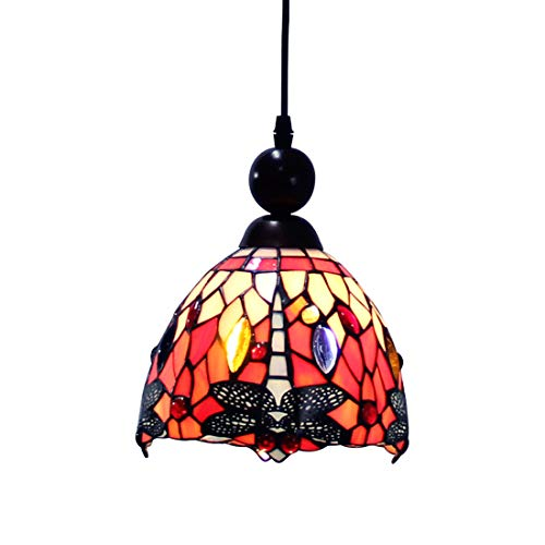 Makenier Tiffany Style Stained Glass Red Dragonfly Vintage Small Pendant Lamp, 7 Inches Lampshade