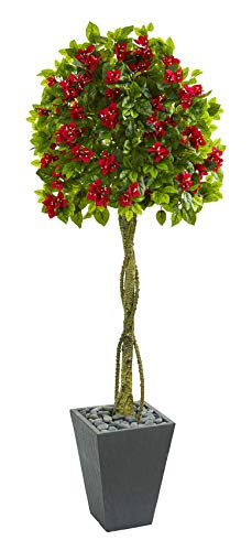 Artificial Tree -6 Foot Bougainvillea Tree with Slate Planter