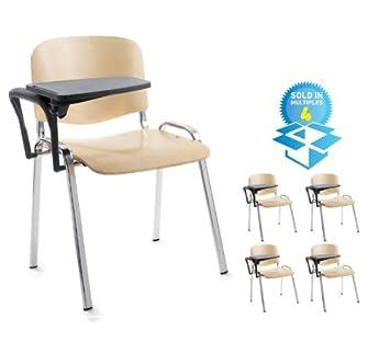 4 Stuhle Stapelbar Schreibplatte Mit Verchromtem Gestell Aus