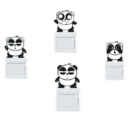 Adesivi vinile decorativo wall decor sticker per spina e interruttore, 20 colori di scegliere-4 panda SUPER STICKER