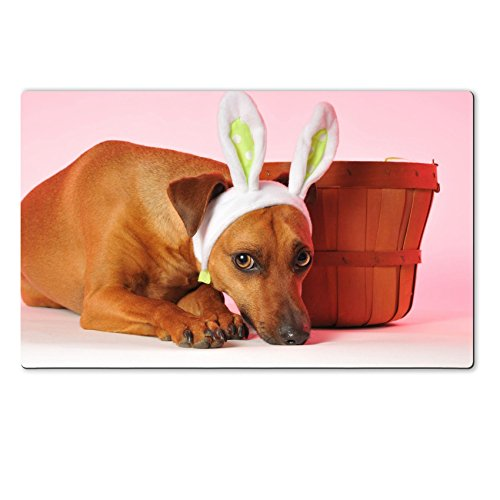 Liili natural rubber Large Table Mat IMAGE ID: 4618273 little dog playing easter bunny