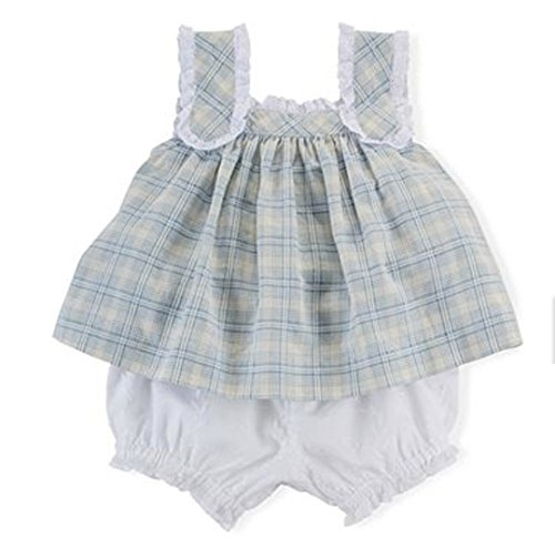 Ralph Lauren Baby Girls 2-Piece Lace Top & Bloomer Set Blue Multi (6 (Two Piece Bloomers)