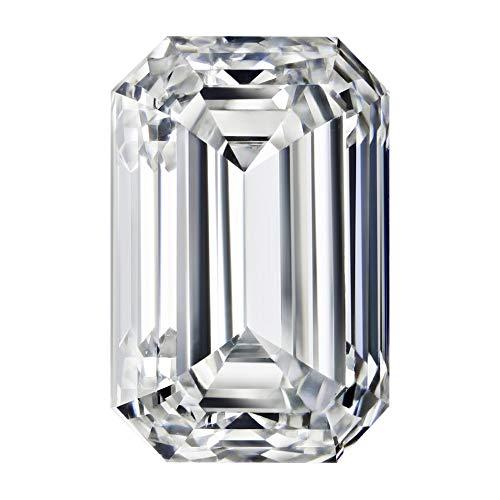 Moissanite Mart Beautiful F-G Color 2 Carat Emerald Brilliant Cut 8.5x6.5 MM VVS Clarity Moissanite (Moissanite 2 Stone)