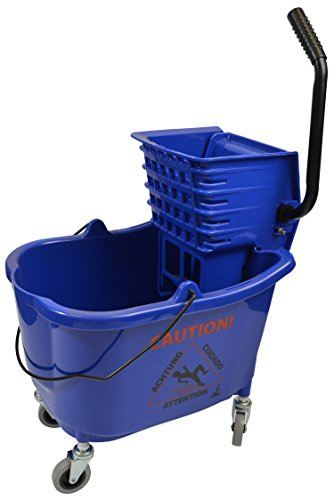- Janico Inc Mop Bucket Side Press Wringer Combo, 35 Quart 8.5 Gallon, Blue, 3 Inch Non Marking Metal Casters (35 Quart, Blue)