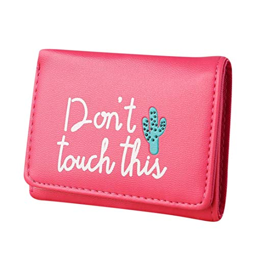 Womens Mini Wallet, Litetao DON'T TOUCH THIS Printed Coin Money Bags PU Wallets (Hot Pink) ()