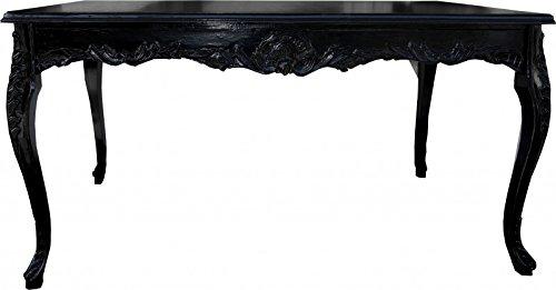 Casa Padrino Barock Esstisch Schwarz mit Glasplatte - Esszimmer Tisch - alle Grössen, Tisch Abmessungen:140 x 90 cm x H 82 cm