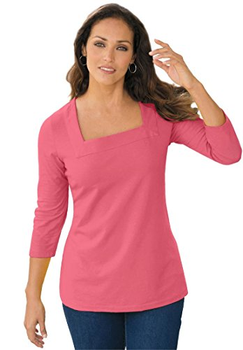 Jessica London Women's Plus Size Tee With Square Neck Begonia,18/20