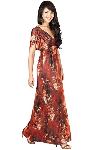 (KOH KOH Plus Size Womens Long V-Neck Short Kimono Sleeve Summer Flowy Casual Cute Sundress Floral Print Vintage Evening Sexy Sundresses Gown Gowns Maxi Dress Dresses, Brown/Latte 2X 18-20)