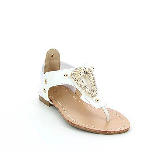 Sandalias planas a condecoraciones métallisées Blanco - blanco
