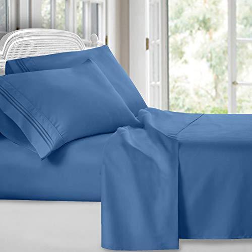 Clara Clark 4 Piece Sheet Set Deep Pocket Brushed Microfiber 1800 Bedding Hypoallergenic, Wrinkle, Fade & Stain Resistant, Queen Size, Blue Heaven