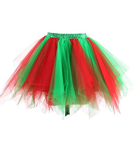 Dresstore Women's Short Vintage Petticoat Skirt Ballet Bubble Tutu Multi-colored Red Green L/XL -