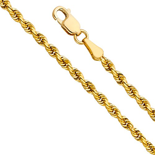 14k Yellow Gold Solid 3mm Solid Rope Diamond Cut Chain Bracelet With Lobster Claw Clasp – 7.5″