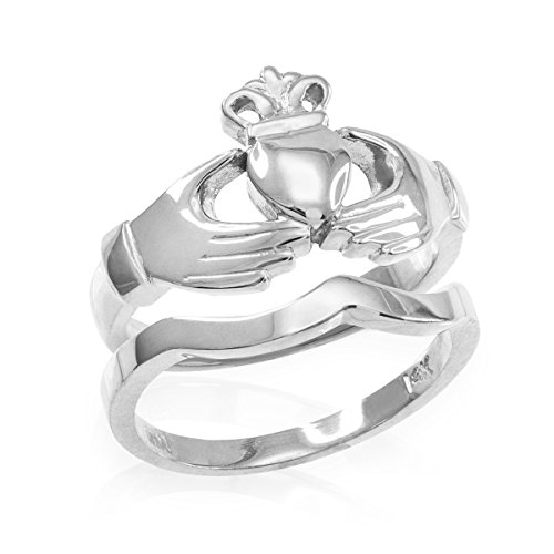 Solid 925 Sterling Silver Two-Piece Claddagh Engagement and Wedding Ring Set (Size 7.5)