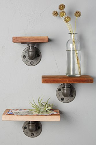 Price comparison product image Industrial Pipe Design Metal & Wood Shelf Ann (3)