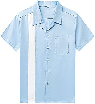 Anchor MSJ Mens 50s Male Clothing Rockabilly Style Cotton Mens Shirts Short Sleeve Fifties Bowling Casual Button-Down Shirts