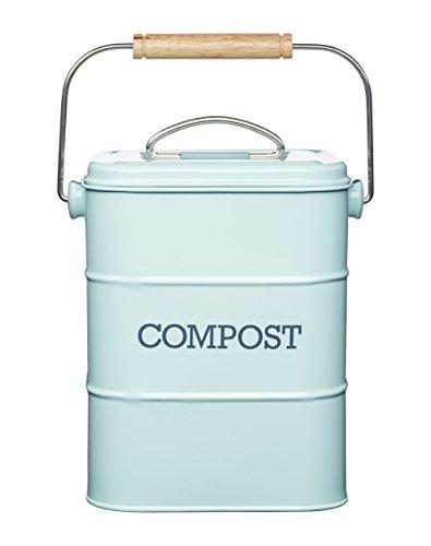 Kitchen Craft Living Nostalgia Komposteimer, 3 Liter, Edelstahl, Vintage-Design, Blau