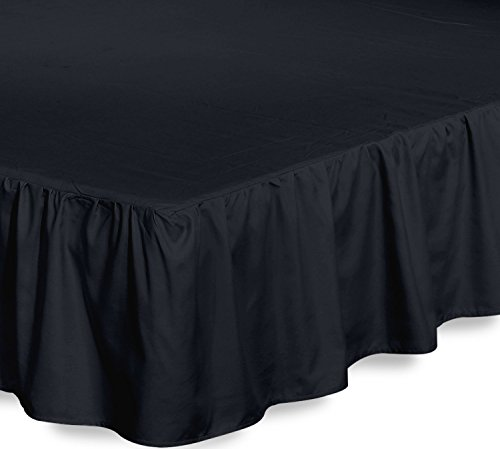 Bed Ruffle Skirt (Full, Black) Brushed Microfiber Bed Wrap with Platform - Easy Fit Gathered Style 3 Sided Coverage by Utopia Bedding (Full Size Black Platform Bed)