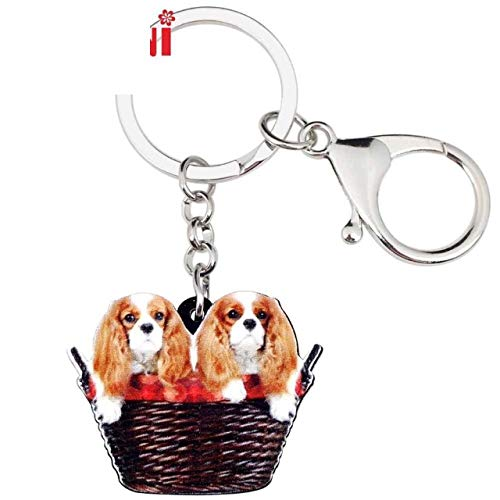 - Acrylic Sweet Double Cavalier King Charles Spaniel Dog Basket Key Chains Keychain Keyring Chain Necklace Pendant Rings Animal Jewelry for Women Girl Girls