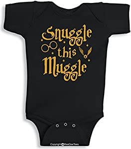 Snuggle This Muggle Funny Harry Potter Baby Black Wizard Onesie by BeeGeeTees®