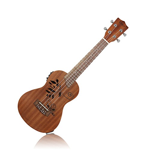 (ULTNICE 24 inch Sapele Wood Electric Ukulele Hallow Craving 4 String Music Instrument with LCD EQ and Accessories (Brown))
