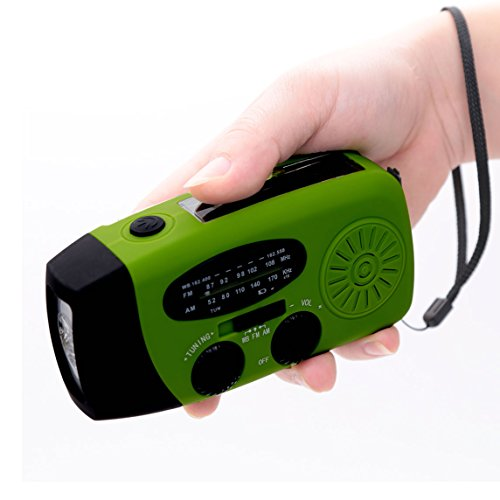 E&W Home Protector Portable Emergency Solar Crank AM/FM/NOAA Weather Band Radio for All Types of Hazards, With 1200mAh Power Bank, Bright Flashlight For Keep Your Family Safe (088WB, Green)
