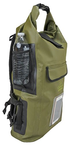 Relentless Recreation Dry Bag Backpack | 30L Waterproof - 500D PVC Tarpaulin | Splash Proof Cell Phone Pocket | Rolltop Drybag for Kayaking, Boating, Hiking, Camping, Fishing & More | Olive Green