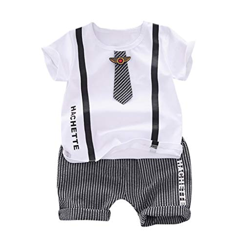 Zlolia Toddler Boys Patchwork Cartoon Print T-Shirt 2Pcs&Stripe Elastic Shorts with Pocket Children's Summer Outfits White]()