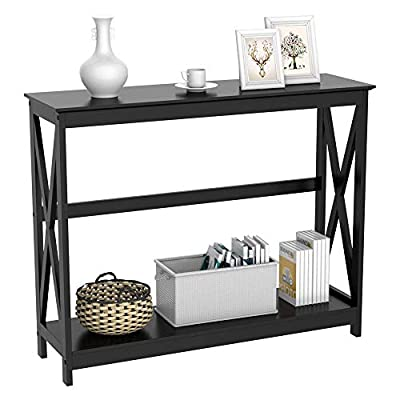 Yaheetech 2 Tier X-Design Occasional Console Sofa Side Table Bookshelf Entryway Accent Tables w/Storage Shelf Living Room Entry Hall Table Furniture, Black - Sturdy: Constructed of non-toxic P2 certified MDF shelves and solid wood legs, the whole console table was sprayed high-quality paint, the entire frame is durable and stable; the console table top can bear up to 36kg/79.4lb; and the bottom shelf can bear up to 26kg/57.3lb. Versatile: This console table can be used as a plant stand end table, coffee table, tea table, lamp table and reading table in bedroom, entryway, study, living room, dining room, office, and so on. Practical: The console table is suitable for put something decorative like vase, photo frame, books, and so on. The lower storage shelf provides additional space for magazines or delicate small objects, which makes your space neat and clean. - living-room-furniture, living-room, console-tables - 41iIKBbzxiL. SS400  -