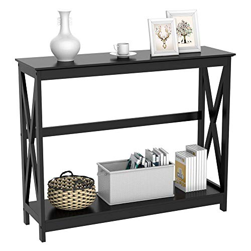 Yaheetech 2 Tier X-Design Occasional Console Sofa Side Table Bookshelf Entryway Accent Tables w/Storage Shelf Living Room Entry Hall Table Furniture (Black) ()