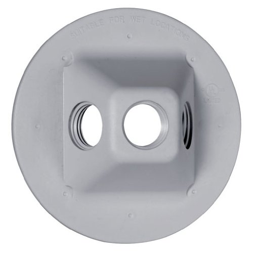 (Hubbell-Bell PLV330GY Round Hole Weatherproof Nonmetallic Lampholder Cover, Gray)